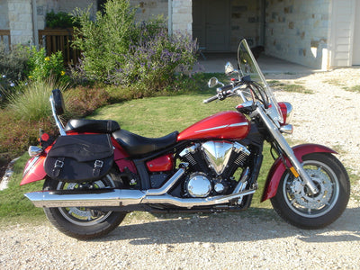 Yamaha V Star with Black Leather Motorcycle Saddlebags and Embossed Inlay pattern