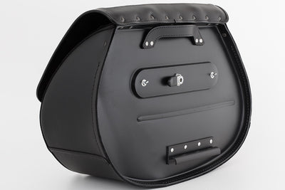 Black Leather Motorcycle Saddlebags - Black Ghost Inlay