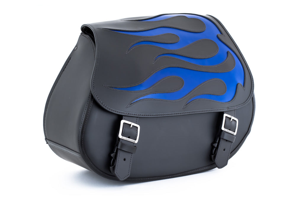 Blue Flame Leather Motorcycle Saddlebags