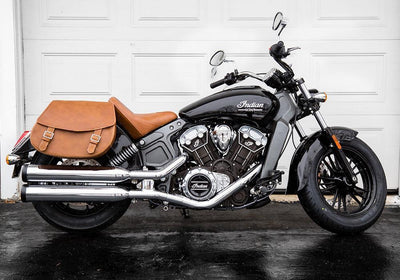 Indian Scout Dark Horse - Tan Leather Motorcycle Saddlebags