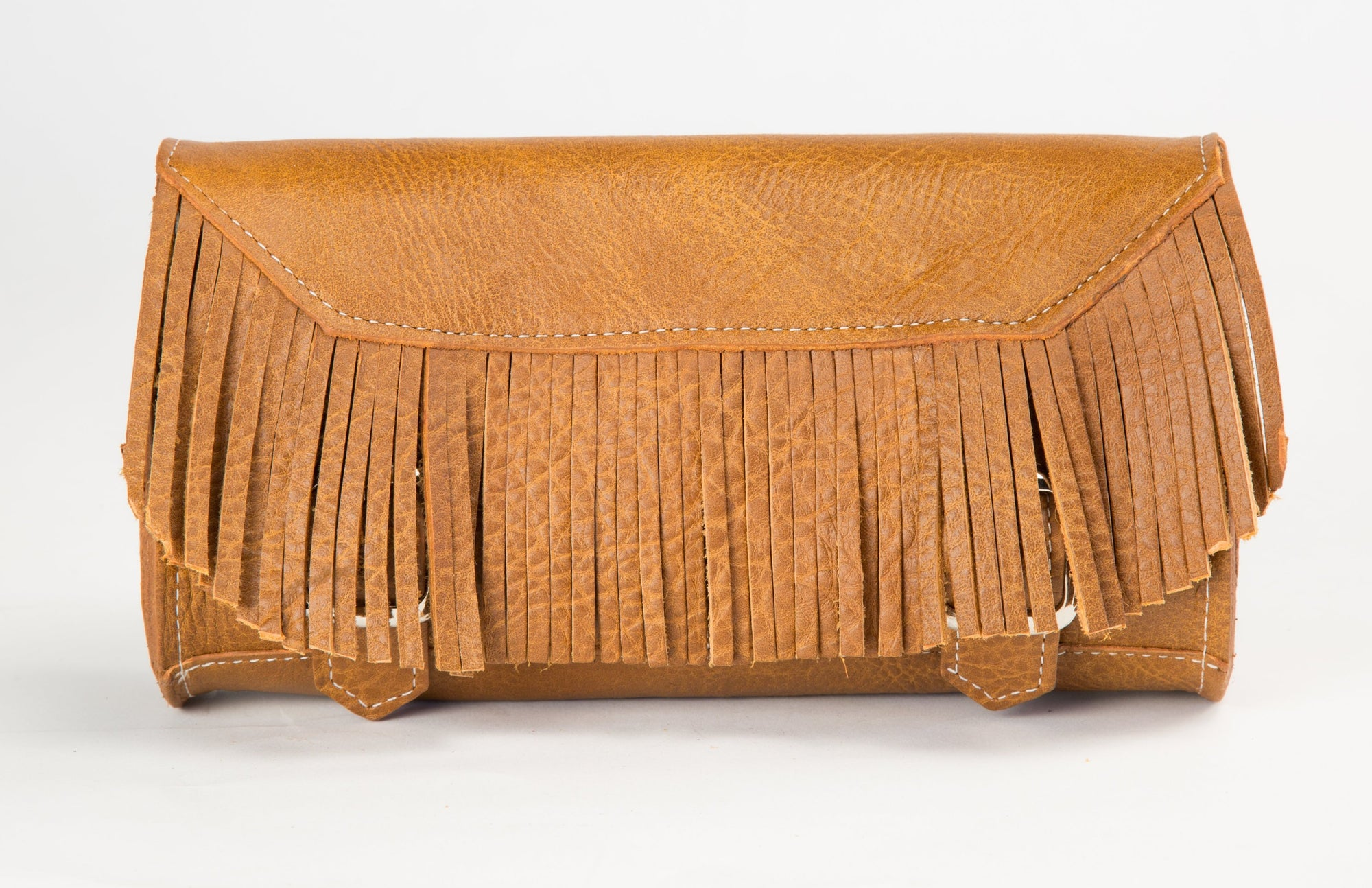 Desert Tan Leather Motorcycle Tool Bag - Fringe