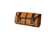 Desert Tan Leather Motorcycle Tool Bag w/ Black Straps