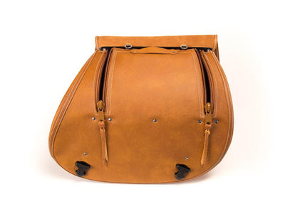 Tan Leather Motorcycle Saddlebags - Flap Open, zippers open