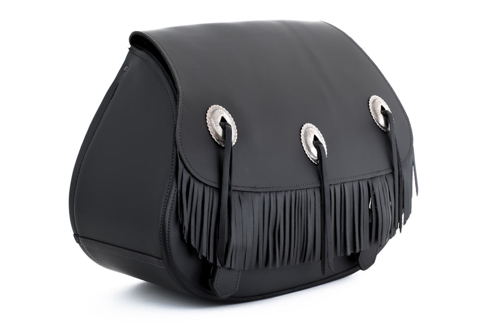 Black Leather Motorcycle Saddlebags - Fringe