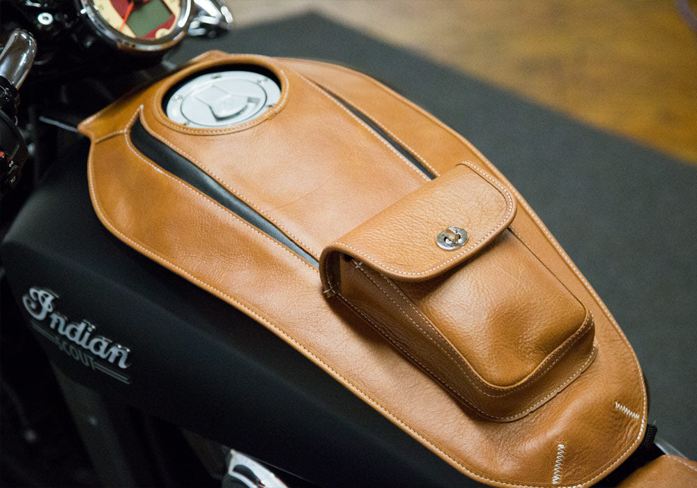 Indian Scout - Leather Motorcycle Tank Cover - Tan & Black Leather Embossed