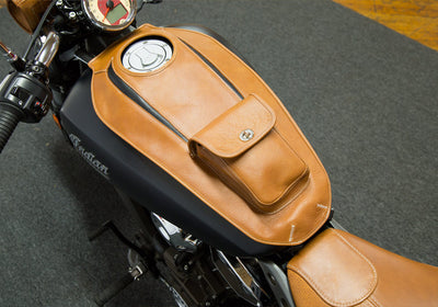 Indian Scout - Leather Motorcycle Tank Cover - Tan & Black