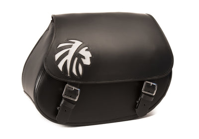 Indian Warrior Black Leather Motorcycle Saddlebags