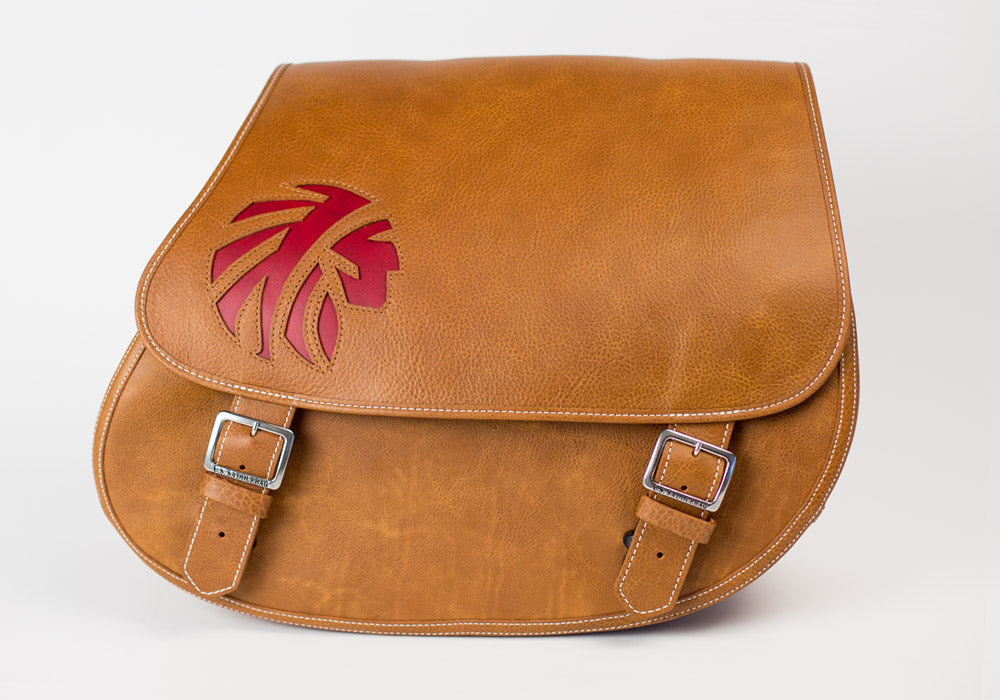 Motorcycle Saddlebags with Tan and Red Leather Inlay of an indian warrior head