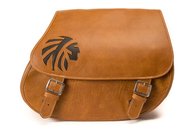 Desert Tan Leather Saddlebags with Black Leather Inlay for Motorcycles