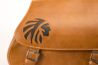 Desert Tan Leather Saddlebags with Black Leather Inlay for Motorcycles close up