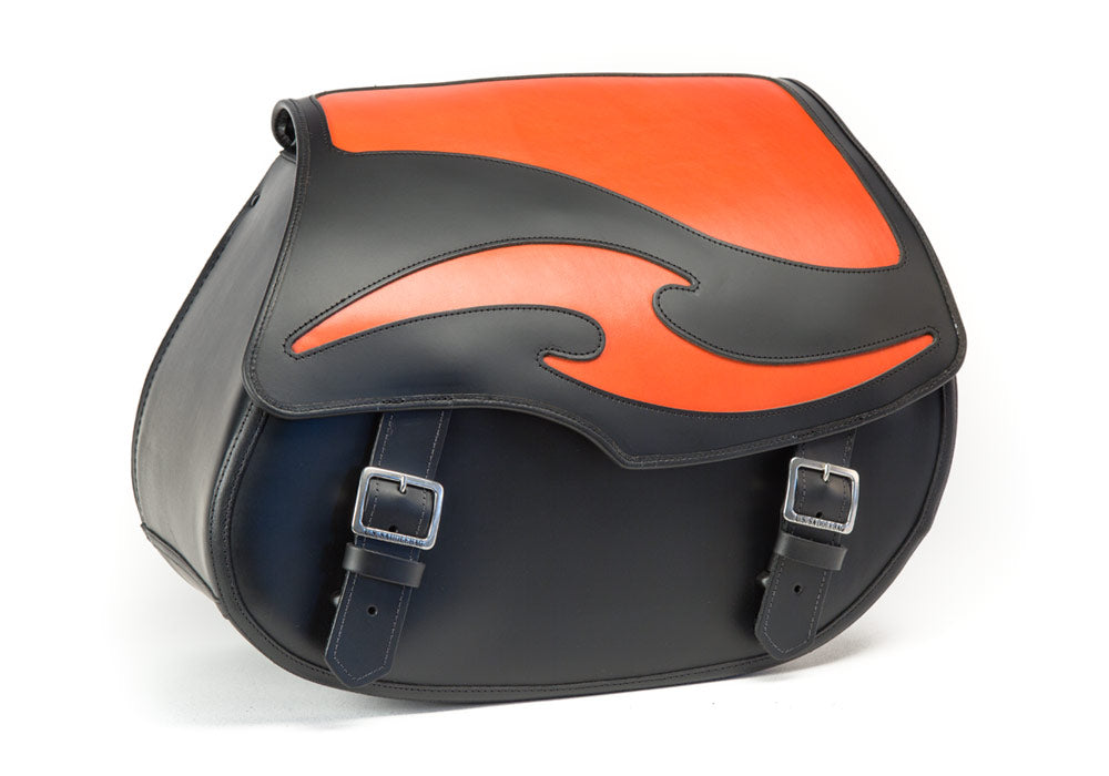 Black Leather Motorcycle Saddlebags - Orange Inlay