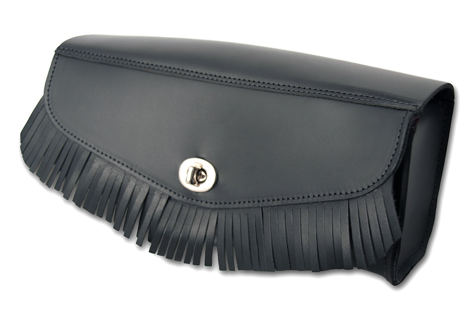 Black Heavy Leather Motorcycle Tool Bag - Fringe