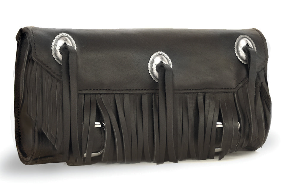 Black Heavy Leather Motorcycle Tool Bag - Conchos & Fringe