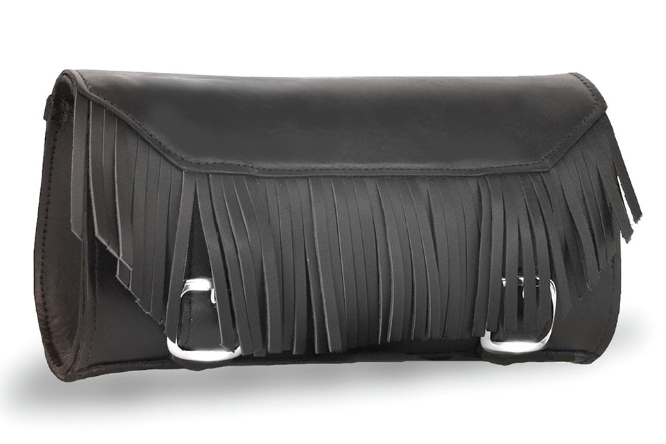 Black Leather Motorcycle Tool Bag - Fringe