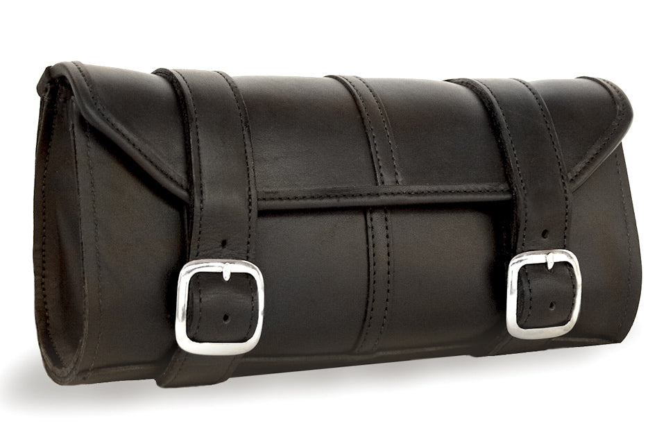 Black Leather Motorcycle Tool Bag - Classic