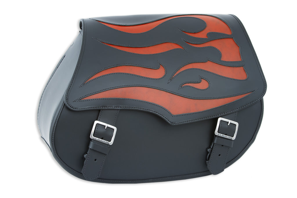 Black Leather Motorcycle Saddlebags - Orange Ghost Inlay
