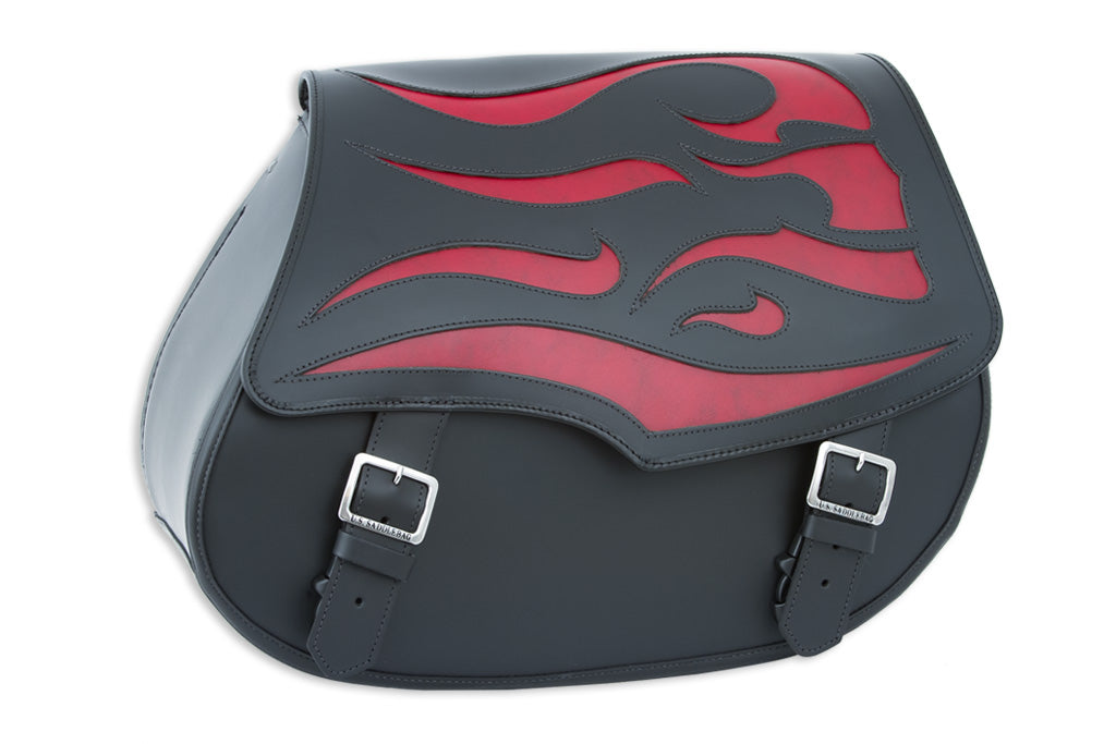 Black Leather Motorcycle Saddlebags - Red Ghost Inlay
