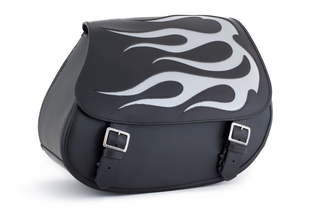 Silver Flame Leather Motorcycle Saddlebags