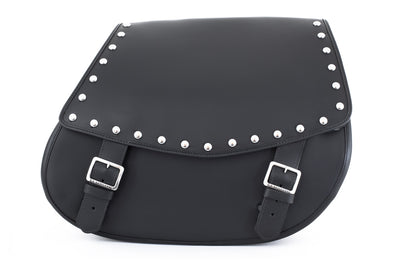 Studded Black Leather Motorcycle Saddlebags