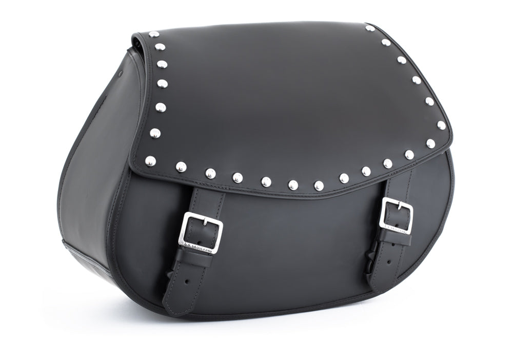 Studded Black Leather Motorcycle Saddlebags - angled view