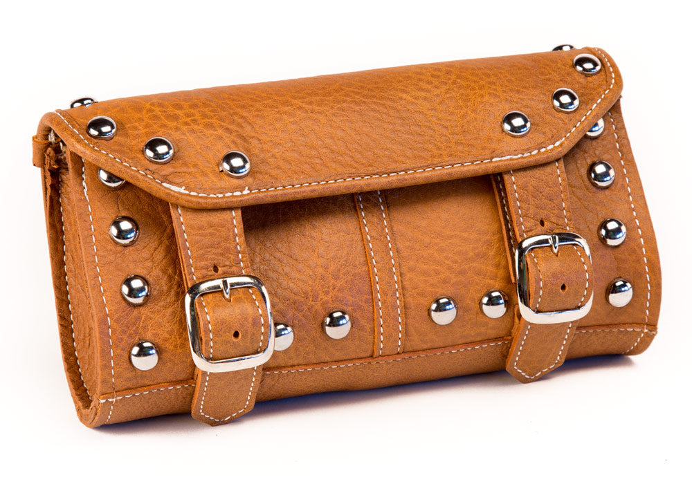Tan Leather Motorcycle Tool Bag - Studded