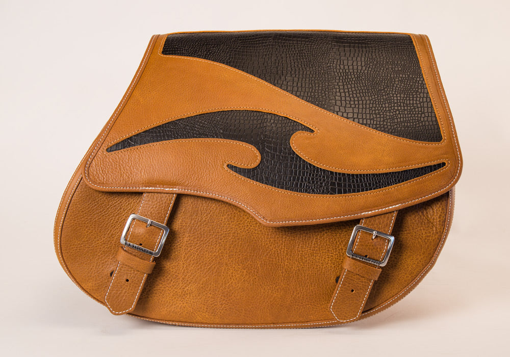 Tan and Black Inlay Leather Motorcycle Saddlebags
