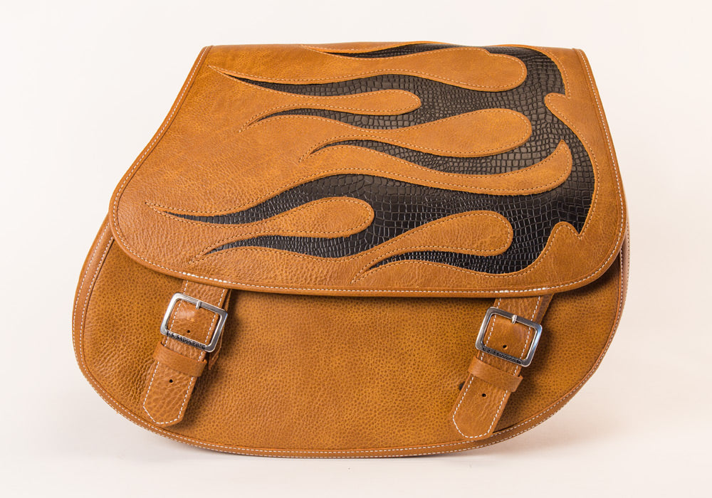 Black Flame Inlay within our Desert Tan Leather Motorcycle Saddlebags