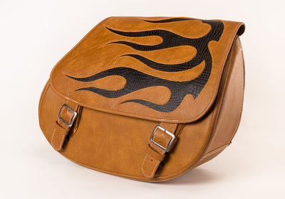 Black Flame Inlay within our Desert Tan Leather Motorcycle Saddlebags angled view