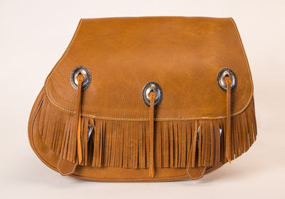 Fringe Motorcycle Saddlebags with Desert Tan Leather and conchos