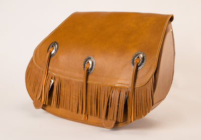 Fringe Motorcycle Saddlebags with Desert Tan Leather and conchos side view