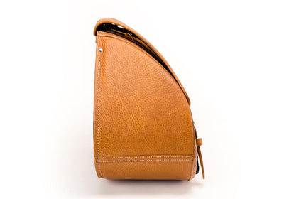 Tan Leather Motorcycle Saddlebag - Side View