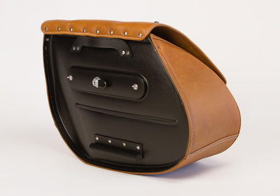 Studded Desert Tan Leather Motorcycle Saddlebags