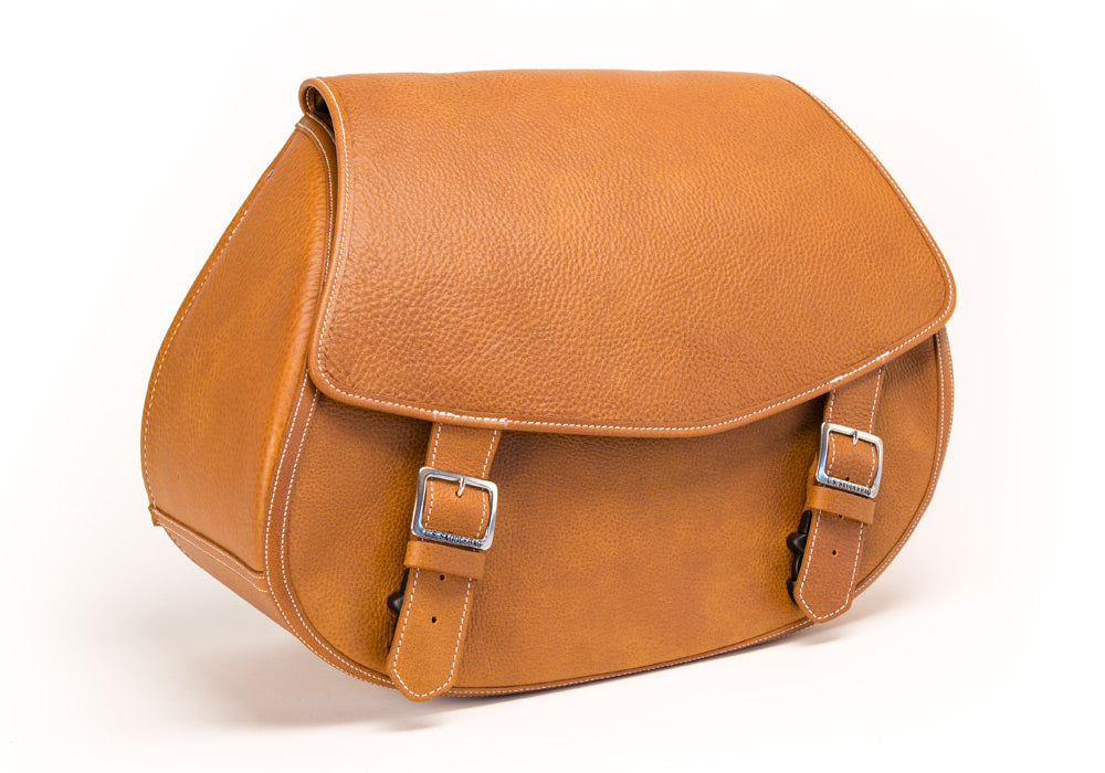 Classic Desert Tan Leather Motorcycle Saddlebags