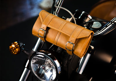 Tan Leather Motorcycle Tool Bag - Classic