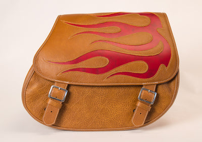 Desert Tan & Red Flame - Leather Motorcycle Saddlebags