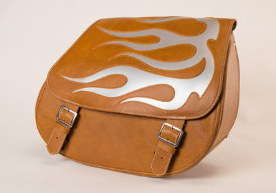 Tan & Silver Flame - Leather Motorcycle Saddlebags