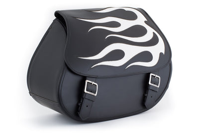 White Flame Leather Motorcycle Saddlebags