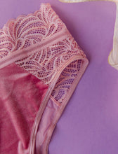 Lace & Velvet High Waist Panty - Pink - Plus Size