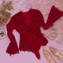 Eyelash Lace & Mesh Bell Sleeve Teddy - Red - Plus Size