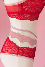 Lacy Strappy Panty - Red - Plus Size