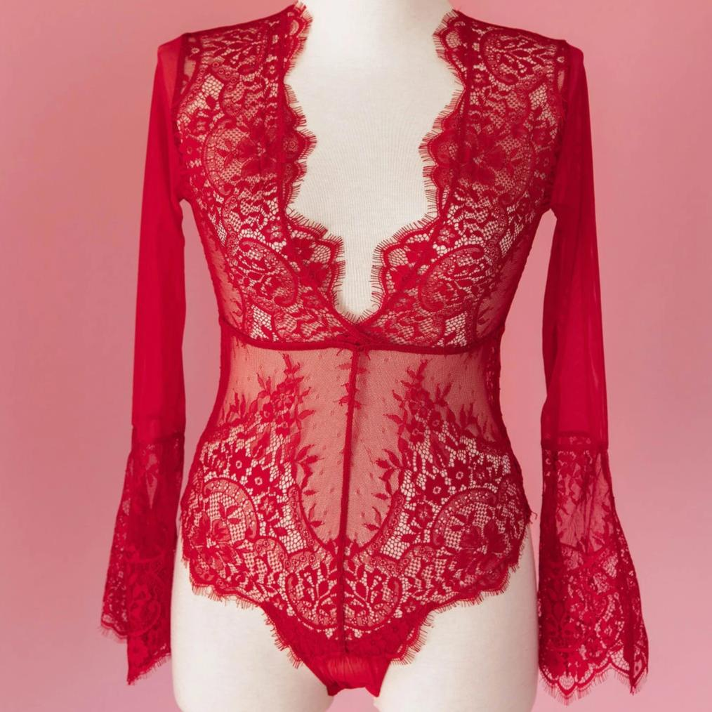 Eyelash Lace & Mesh Bell Sleeve Teddy - Red