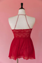 Lace & Mesh Keyhole Babydoll - Red - Plus Size
