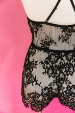 Eyelash Lace Romper - Black - Plus Size