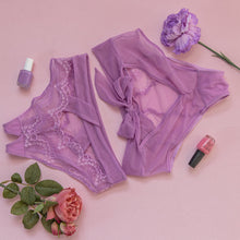 Lace & Mesh Crotchless Panty - Lilac