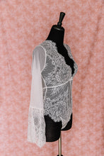 Eyelash Lace & Mesh Bell Sleeve Teddy - White