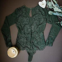 Eyelash Lace & Mesh Long Sleeve Teddy - Forest Green