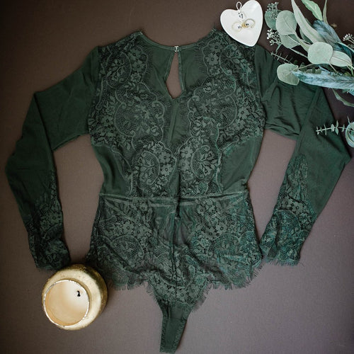 Eyelash Lace & Mesh Long Sleeve Teddy - Forest Green - Plus Size