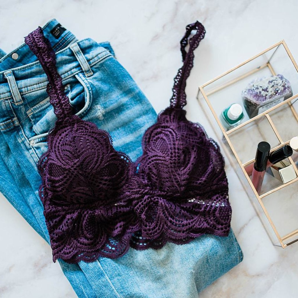 Scalloped Lace Padded Bralette - Deep Purple