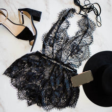 Sheer Lacy Plunge Romper - Black