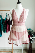 Lace & Mesh Polka Dot Babydoll - Rose